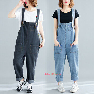 Womens Loose Jeans Jumpsuits Denim Overalls Bib Pant Rompers Dungarees Trousers