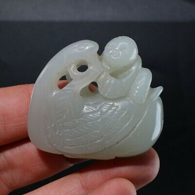 Chinese Exquisite hetian jade Carved  pendant statue N1134