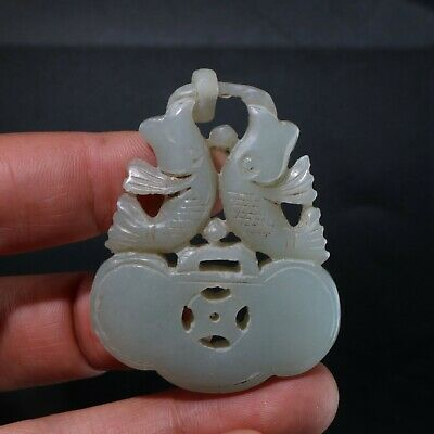 Chinese Exquisite hetian jade Carved  pendant statue N1103