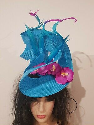 Fascinator hatinator hat races wedding costume formal blue - one off