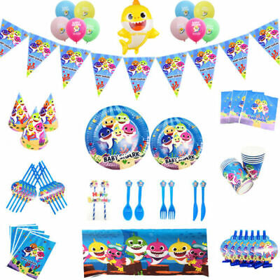 Baby Shark Kids Birthday Party Supplies Banner Flag Decor Plates Tablecloth Cups