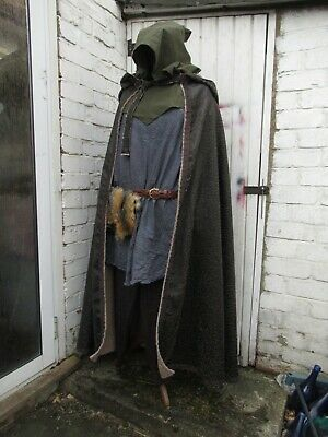 LARP Pagan Hooded Cloak Re enactment  LOTR Game Of Thrones cape Medieval Cosplay