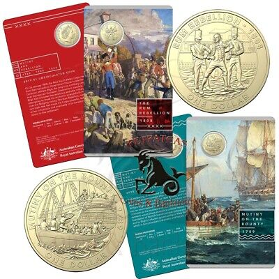 """2019 Mutiny and Rebellion Series """"Mutiny on the Bounty"""" $1 Unc Coin on Card"""