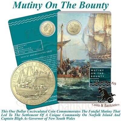 """2019 """"Mutiny on the Bounty"""" $1 Unc Coin on Card Mutiny and Rebellion Coin Series"""