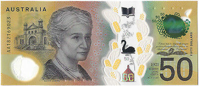 Australia 2018 $50 Note AA18 FIRST PREFIX Uncirculated.  Just Released