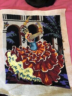 Flamenco Dancer Half Stitch Completed Tapestry Ready For Framing 36.5x53.5cm