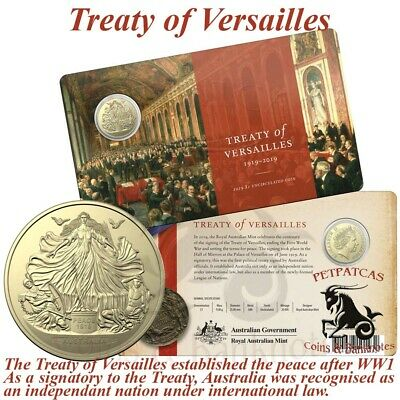 2019 Centenary of the Treaty of Versailles $1 Unc Coin on Card