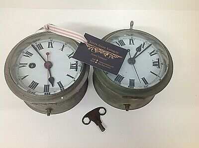 RARE GPO telephone exchange/post office chromed Bulkhead clocks Roman Numerals 2