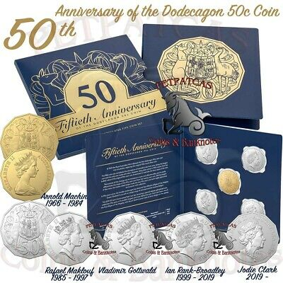 "2019 50th Anniversary of the Dodecagon 50c ""Five Coin Set"" with Gold Plated Coin"