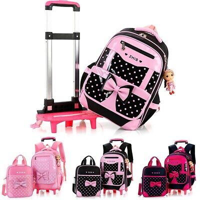 2Pcs Kids With 2/6 Wheels Trolley Backpack Girls Children Removable School Bag