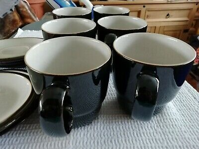 Denby Black Pepper New 6 Mugs Everyday Stacking  + 4 Saucers