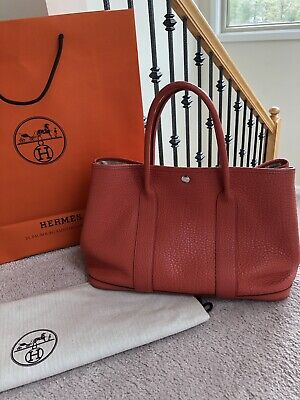 b12e32ff4272 100% Authentic Hermes Garden Party PM Medium Capucine Country Leather  Excellent