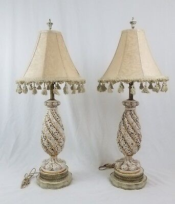 Vintage porcelain Capodimonte style gilt lamp pair Hollywood Regency French