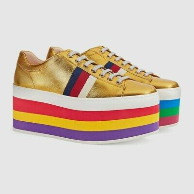 0a46bc5bee3 GUCCI PEGGY LEATHER Platform Sneaker Metallic Gold Rainbow Shoes ...
