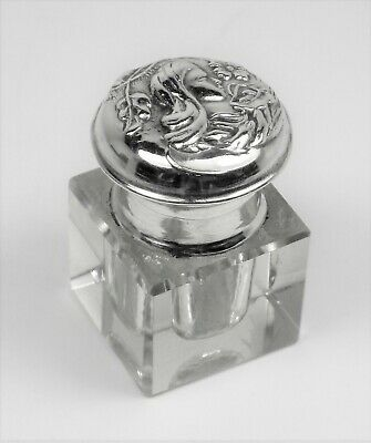 Inkwell Art Nouveau antique relief solid silver and glass RARE