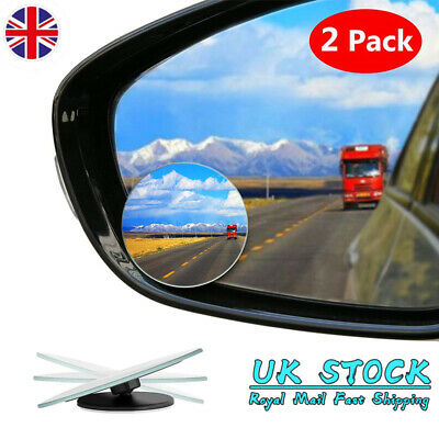 2PCS Car Blind Spot Rear View Mirrors Rearview Wide Angle Round Convex Mirror