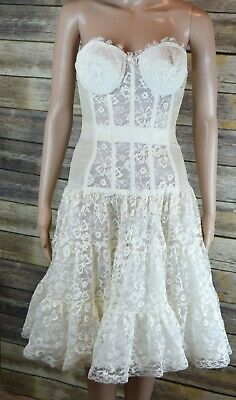 1950's Cream Lace Full One Piece Bustier Crinoline Skirt With Garter Clips Pinup