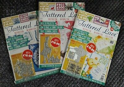 Tattered Lace Magazines Issues 35, 37 & 38 (All 3 Magazine Included) Brand New