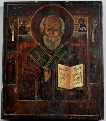 Antique Russian Orthodox Icon Saint Nicholas the Wonderworker c.1890s