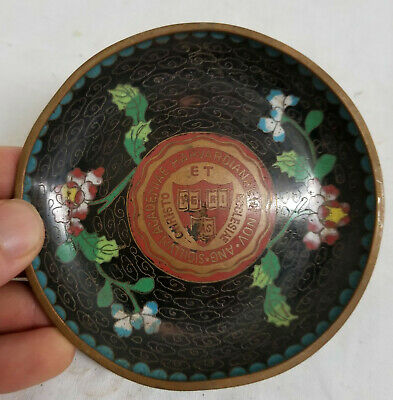 Antique Chinese Cloisonne Enamel Harvard Seal Insignia Emblem Dish As Is