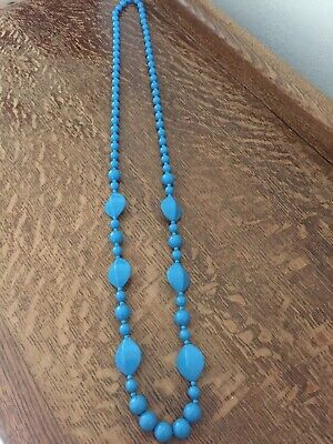 Vintage Blue Bobble Bead Necklace/Retro/Oval/Plastic/Kitsch/Long/Statement