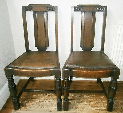 Pair of Beautiful Vintage Victorian Oak Chairs with Nouveau inspired Carving