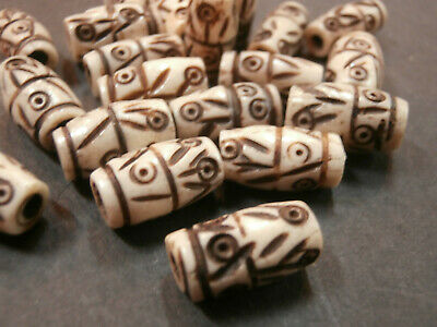 2 Very Large Light Caramel Brown Horn Carved Round Chunky Barrel Beads 20x25mm