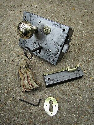 Salvaged Victorian Door Rim Lock Set - Brass Handle, Escutcheon, Keep, Key Eagle