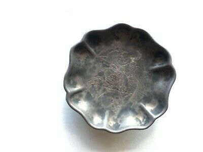 Antique Chinese Silver Dish Flower Shape Etched with Peony and Birds