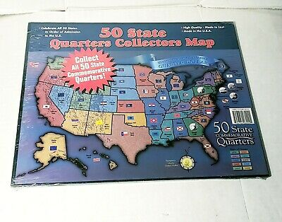 50 FIFTY STATE Quarters Collectors Map University Games Coins New Made on