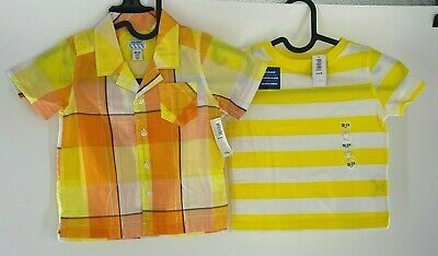 Old Navy Boy'sToddler Lot of Two Button Up T-Shirt Strip Yellow Size18-24 Month