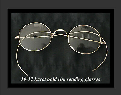 d1eabac78dfc Vintage Antique wire rim reading glasses spectacles 10-12K gold fill with  case