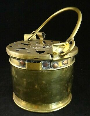 Antique English Solid Brass Pale w/pierced-removable Lid & Copper rivets. 9 7/8""