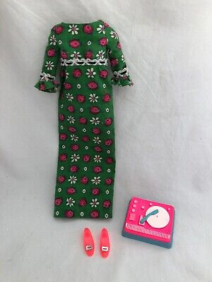 Vintage FRANCIE TAGGED Doll Outfit 1267 GRANNY GO with Pink SILVER BUCKLE SHOES