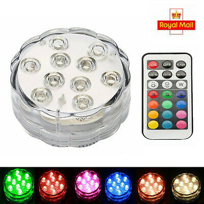 4X 10LED Multicolor Submersible Waterproof Party Vase Base Light Remote Control