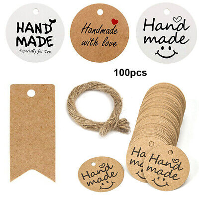 100Pcs Kraft Gift Tags Hanging Label Party Package Wrapping Blank Hang Tag Cards