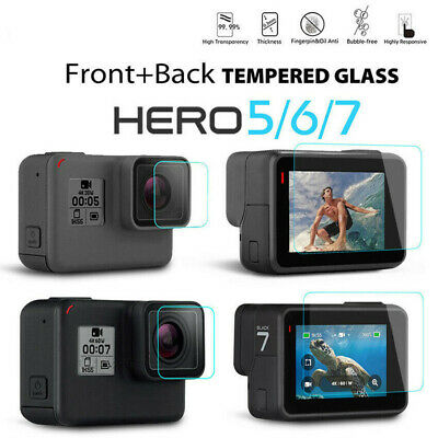 2PC Tempered Glass Screen Protector For GoPro Hero 7 6 5 Lens Caps Anti-Scratch