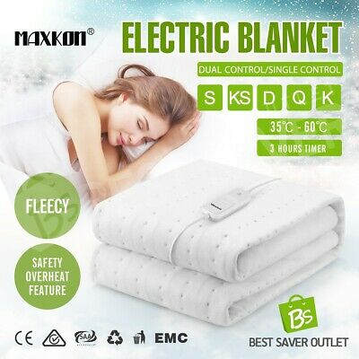 Washable Electric Blanket Fully Fitted Polyester Underlayer Heat Warm S/KS/D/Q/K