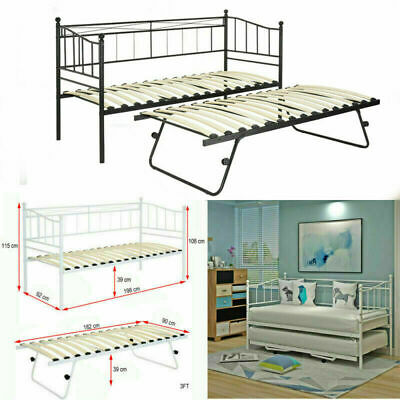 Metal Daybed Guest Bed 2FT6 3FT With Trundle or Without Trundle White/Black