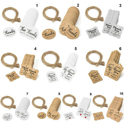 "100pcs Kraft Paper Hang Tags Wedding Party Favor ""thank you"" Hanging Label New"