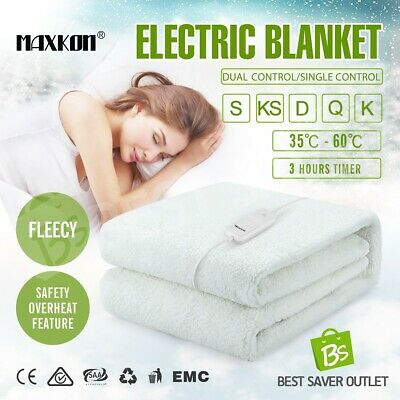 Electric Blanket Fully Fitted Heated Warm Fleecy Underlayer Washable S/KS/D/Q/K