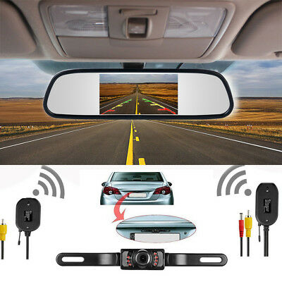 """4.3"""" TFT LCD Car Monitor Rear View Camera Wireless Transmission Parking System"""