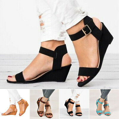 59296cca11f CHLOE WOMEN'S WEDGE Heel Leather Buckle Ankle Strap Sandals Shoes ...