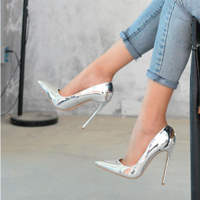 Women's High Heel12cm Pointed Toe Sexy Nightclub Wedding Patent Leather Shoes