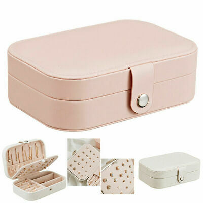 Jewelry Box Ring Earring Necklace Storage Case Travel Organizer Pink Women Gift
