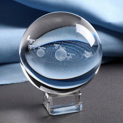 3D Solar System Crystal Ball Planets Glass Ball Laser Engraved  Home Decor GV BR
