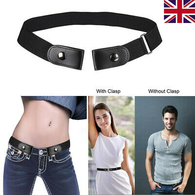 Women Men Black Buckleless Buckle Free Belt Elastic Waistband Invisible Comfort