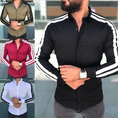 New Men Fashion Casual Luxury Stylish Slim Fit Long Sleeve Dress Shirts Top