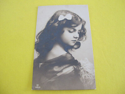 Young Girl with ribbon Glamour Postcard