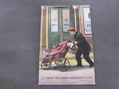 Bamforth Postcard Drunk Lady being wheeled home